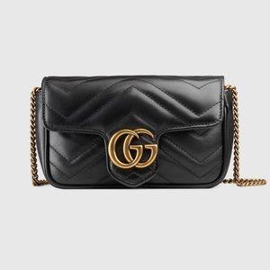 NWT GG Marmont matelassé super mini bag, Black